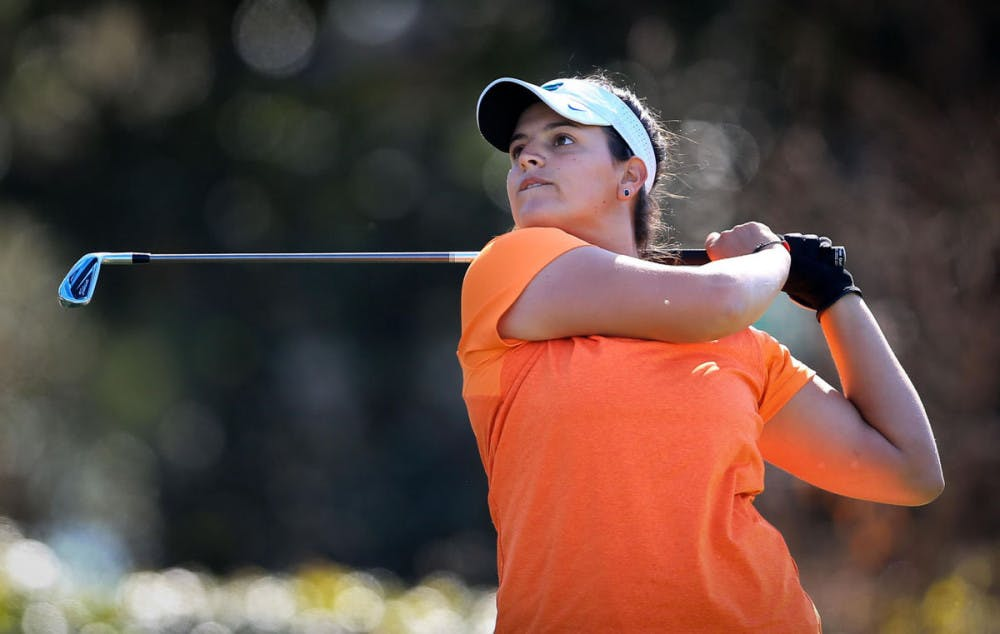 <p>Maria Torres watches her shot during the SunTrust Gator Women's Golf Invitational on Saturday, March 11, 2017, at the Mark Bostick Golf Course in Gainesville.</p>