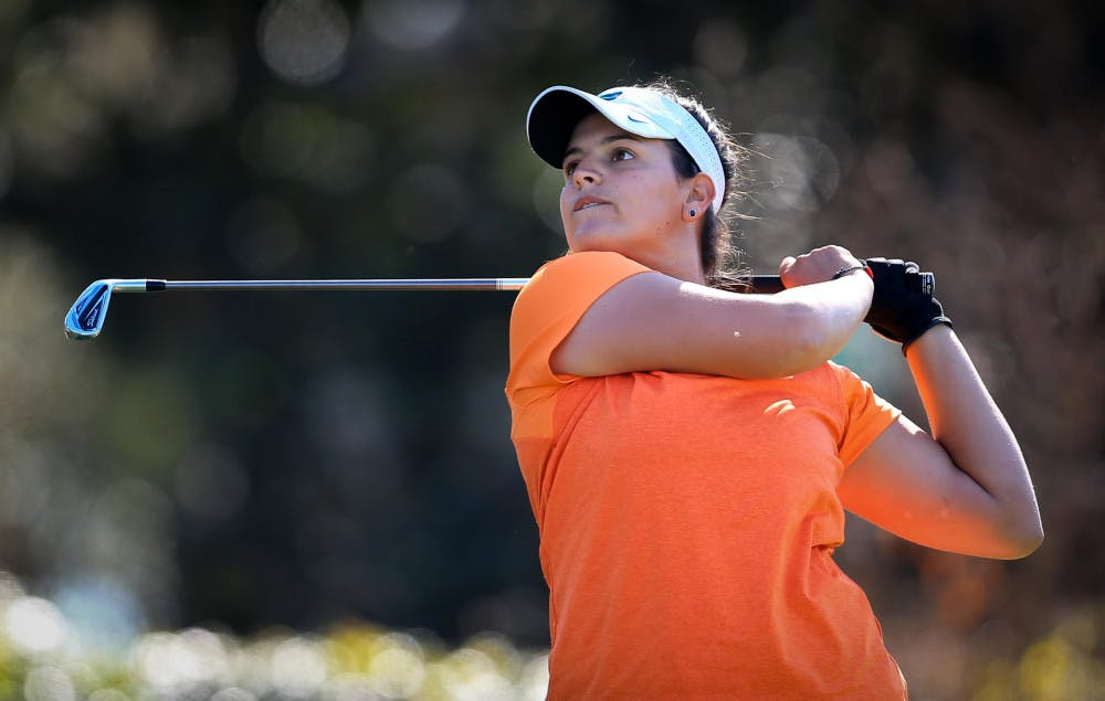 <p>Maria Torres watches her shot during the SunTrust Gator Women's Golf Invitational on Saturday, March 11, 2017 at the Mark Bostick Golf Course in Gainesville.</p>
