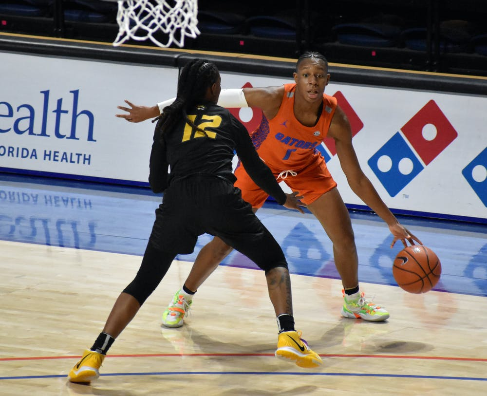 Florida guard Kiara Smith has been heating up lately, scoring more than 20 points in three of her last four games. Photo from UF-Mizzou game Jan. 28.