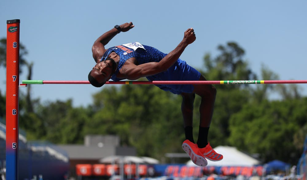 Clayton Brown vaults himself over the bar in the high jump during the Pepsi Florida Relays on Friday, April 2, 2021 at Percy Beard Track at James G. Pressly Stadium in Gainesville, Fla. / UAA Communications photo by Courtney Culbreath