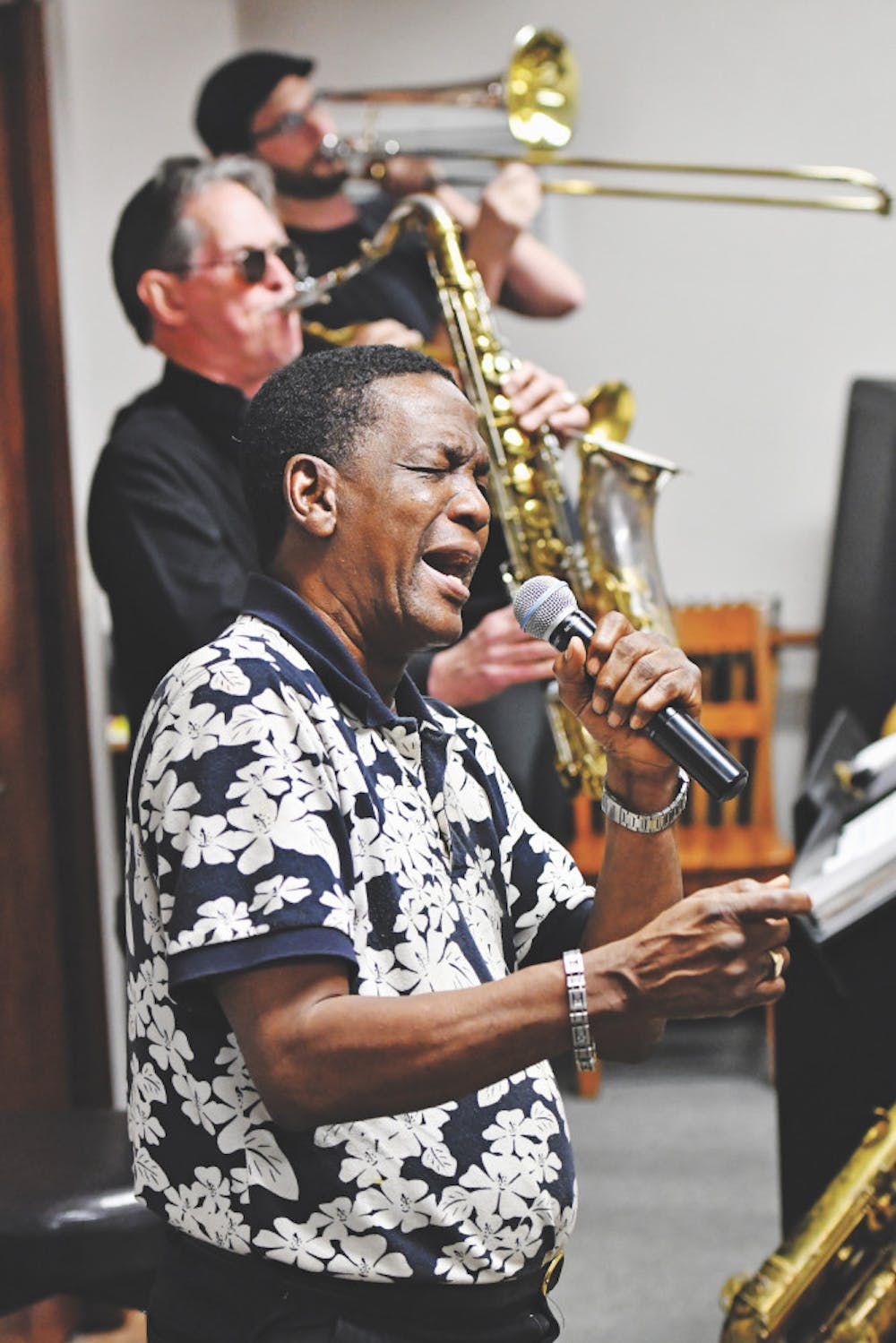 """<p dir=""""ltr""""><span>Little Jake Mitchell, a singer who became UF's first black Gator Growl performer in 1961, rehearses with his band on Feb. 9 ahead of the Soulfest concert.</span></p><p><span></span></p>"""