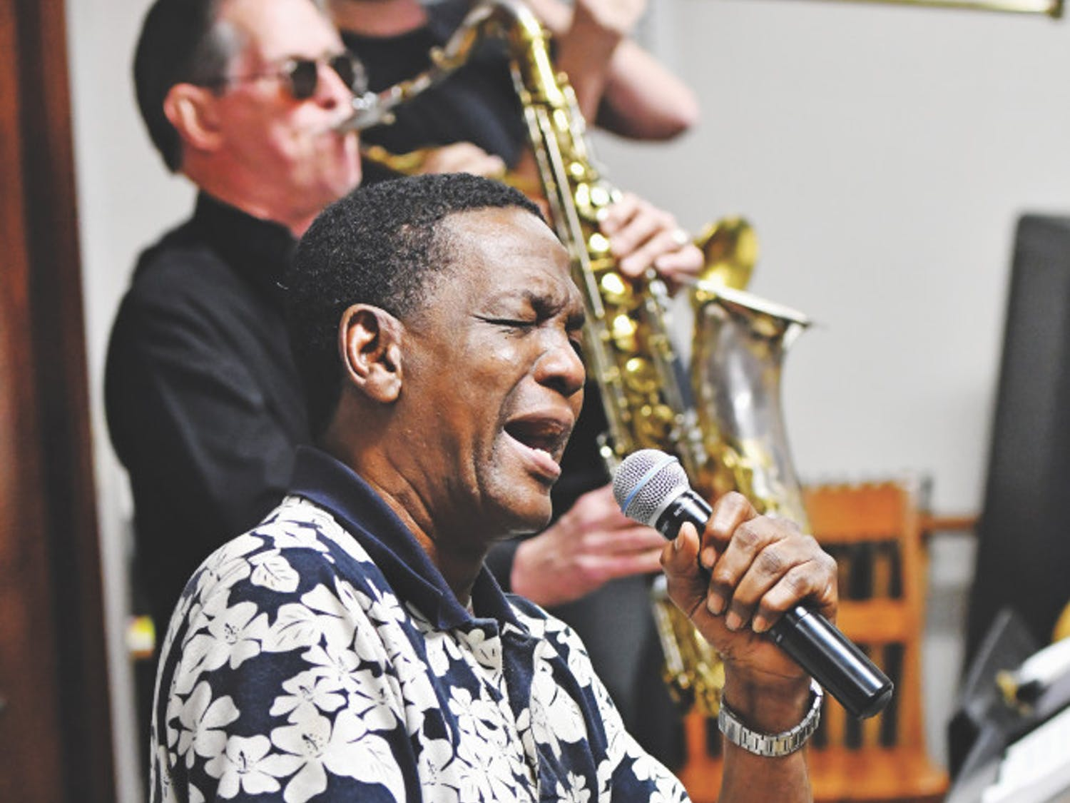 Little Jake Mitchell, a singer who became UF's first black Gator Growl performer in 1961, rehearses with his band on Feb. 9 ahead of the Soulfest concert.