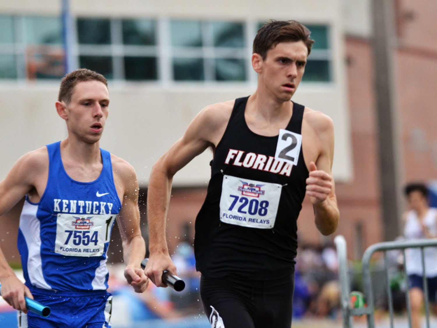 UF's Mark Parrish races in the final leg of the men's distance medley relay during the Florida Relays on May 4, 2015, at the Percy Beard Track in Gainesville.
