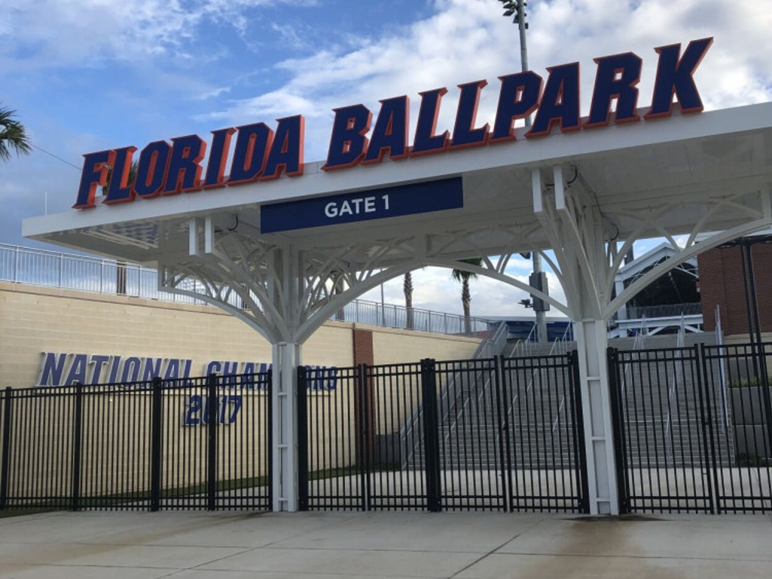 Gate 1 of Florida Ballpark. The new stadium, located next to Donald R. Dizney Stadium along Hull Road, has a capacity of over 7,000.