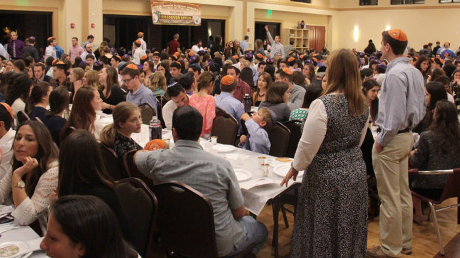 Students and residents gather at the Lubavitch-Chabad Jewish Student and Community Center for Seder on Monday evening. The event celebrated the first night of the Jewish holiday of Passover.
