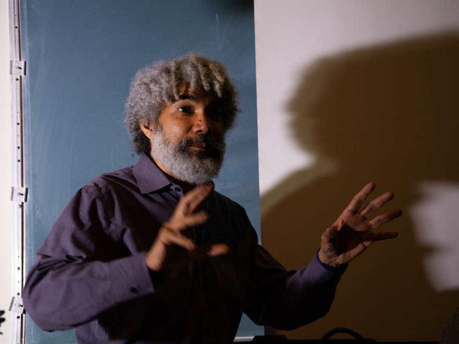 Fred Wilson, a New York-based conceptual artist, brings representation and visibility of racial minority subjects by recontextualizing mainstream spaces in museums and cultural institutions. Hepresented a lecture to about 80 students and art enthusiasts Jan. 15 at Little Hall.