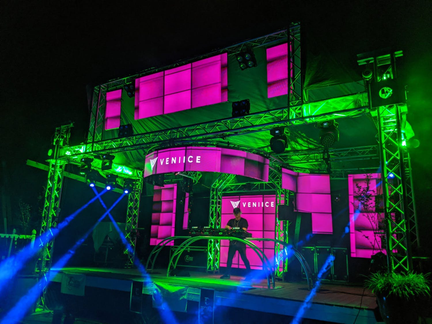 Palmieri, 34-year-old Gainesville resident and owner of Gator Sound and Lighting has built a fully functioning stage, complete with lasers and lights, in his backyard.