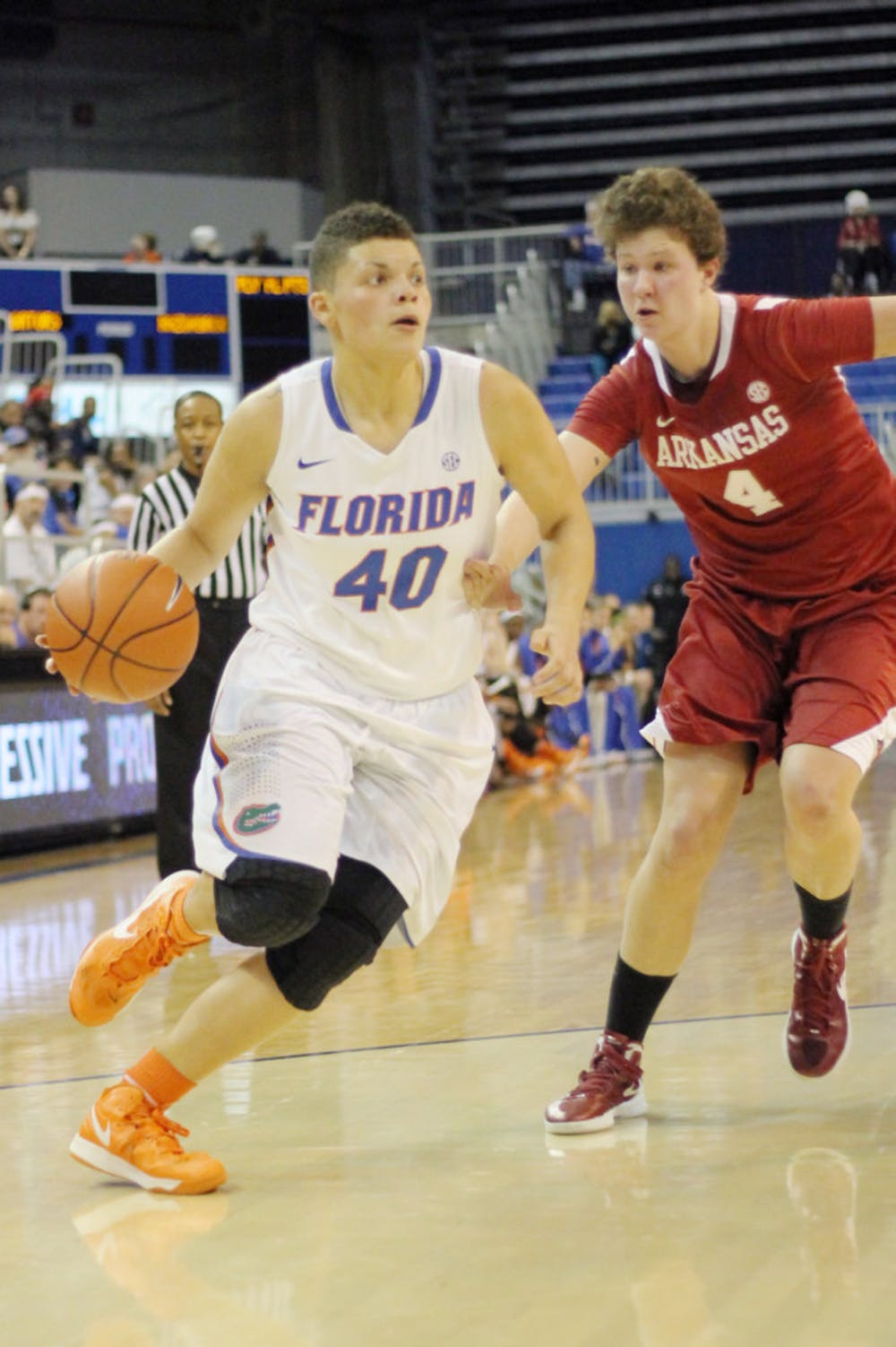 """<p class=""""p1"""">Freshman guard Sydney Moss (40) drives to the basket during Florida 69-58 win against Arkansas on Feb. 28 in the O'Connell Center.</p>"""
