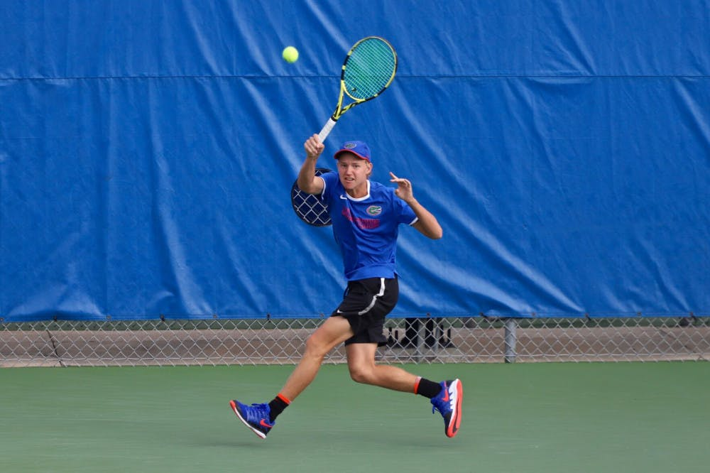 <p>Lukas Greif swings at a tennis ball on the fourth day of the ITA Tournament in Gainesville last season. He's ranked 96th ahead of Florida's matchup with FAU Saturday.</p>