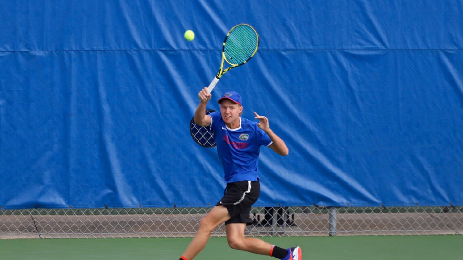 Lukas Greif swings at a tennis ball on the fourth day of the ITA Tournament in Gainesville last season. He's ranked 96th ahead of Florida's matchup with FAU Saturday.