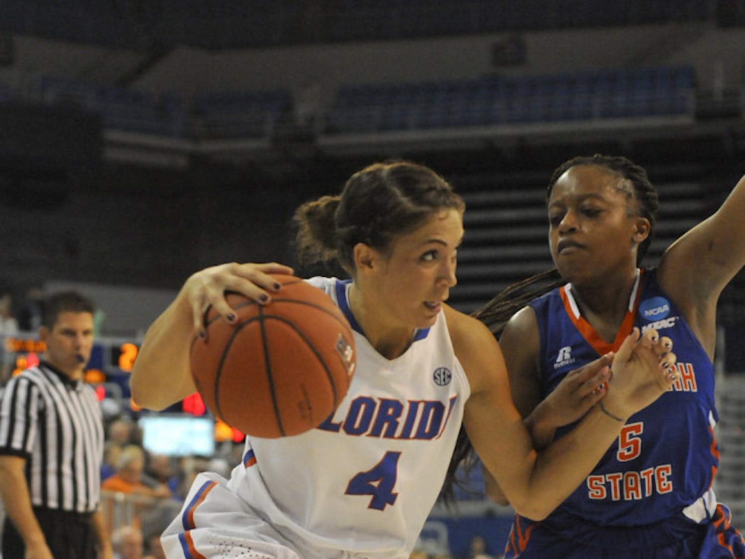 UF guard Carlie Needles drives into the paint during Florida's win against Savannah State on Nov. 24, 2015, in the O'Connell Center.