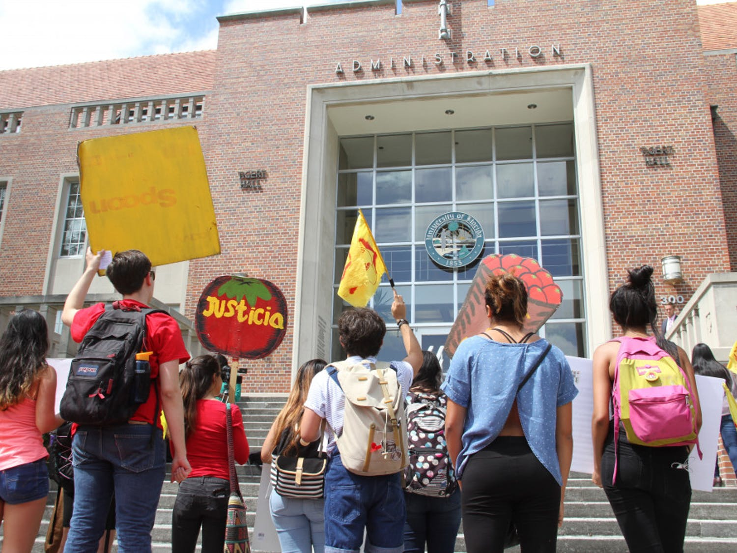 """Protesters walked from the Reitz Union, where the on-campus Wendy's location is, to Tigert Hall on Thursday afternoon to demand that the school's administration tells the fast food chain to sign onto the Fair Food Program, which works to protect farmers' rights. Before they marched, speakers told the group of about 20 students Wendy's was not serving the interests of migrant farmers. Organizer Daphne Fernandez said all workers deserve a living wage. """"Having Wendy's on this campus is an ethical dilemma,"""" she said. """"We are going to pressure Fuchs to remove Wendy's from our campus."""""""