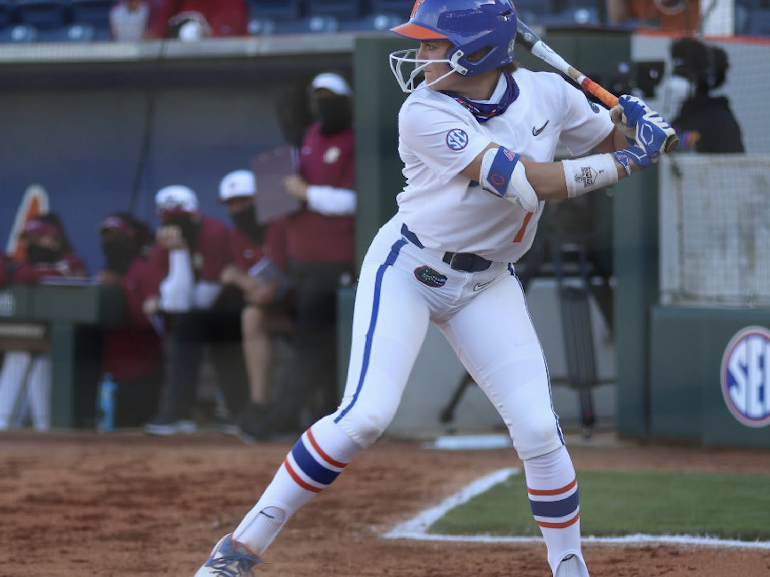Infielder Hannah Adams prepares her swing March 3 against Florida State. Adams extended her career-long hitting streak to 11 games Saturday.