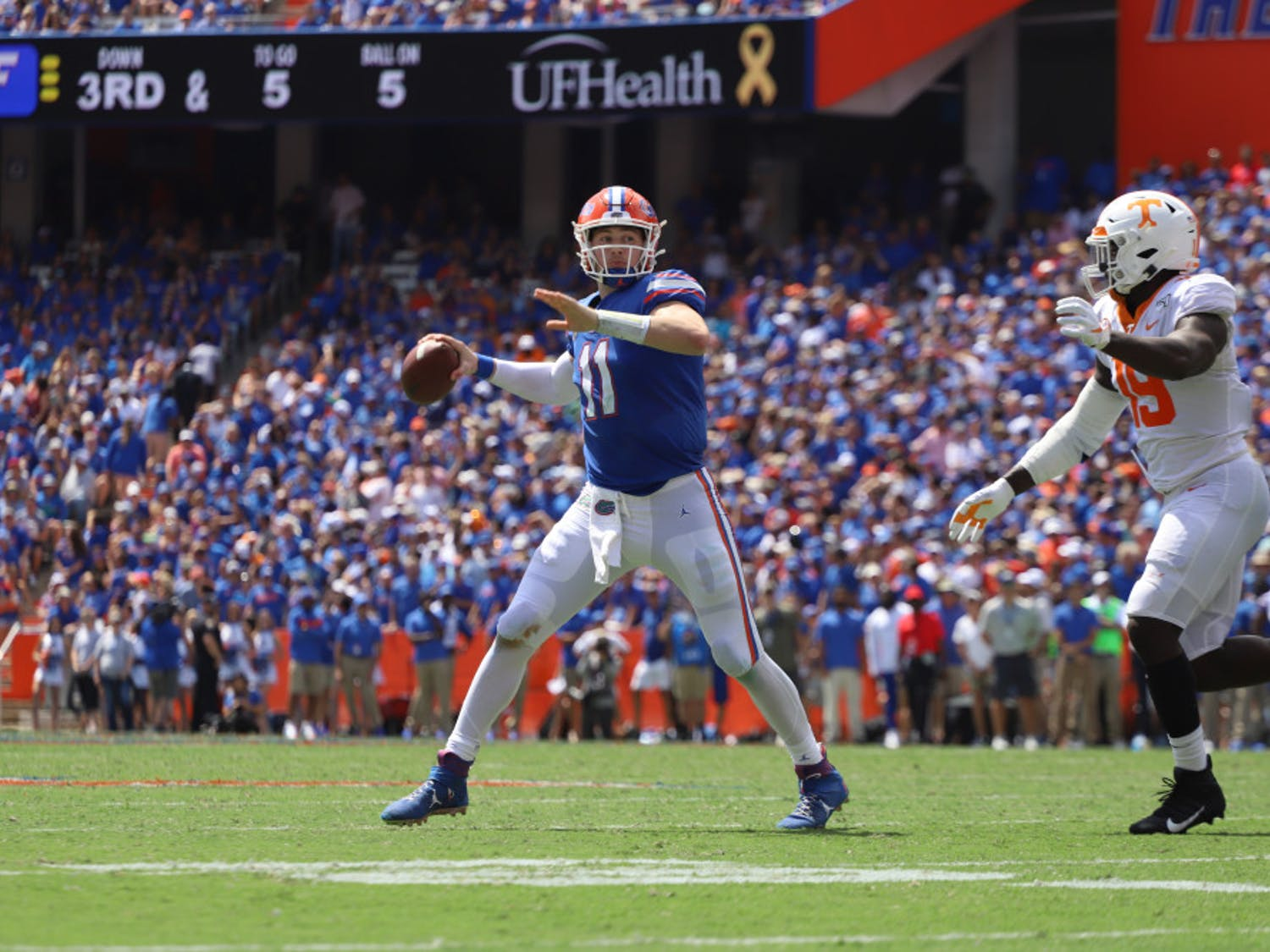 Florida quarterback Kyle Trask drops back in the Gators' home game versus Tennessee last season. In 2020, Trask has completed 71.9% of his passes, thrown 14 touchdowns to just one interception and is averaging 9.7 yards per attempt.
