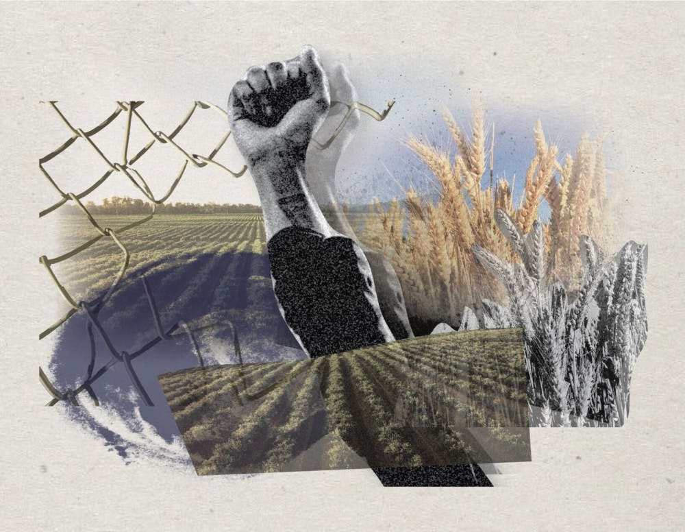 Graphic with fist in the air