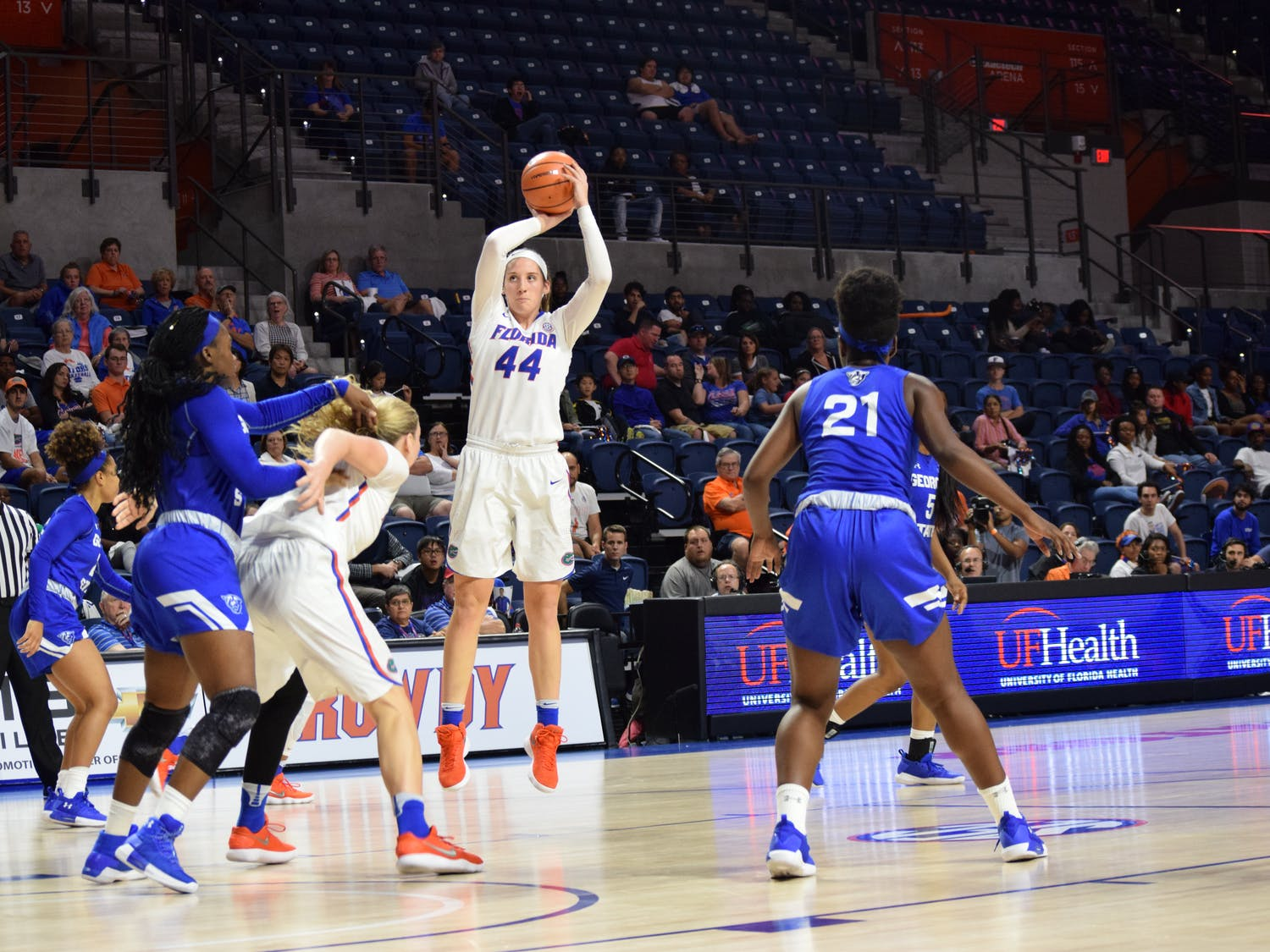 """Haley Lorenzen matched a season high with 20 points and added 10 rebounds against LSU in a 66-59 losson Sunday.""""We let our mistakes kind of dictate what we were trying to do,"""" Lorenzen said."""
