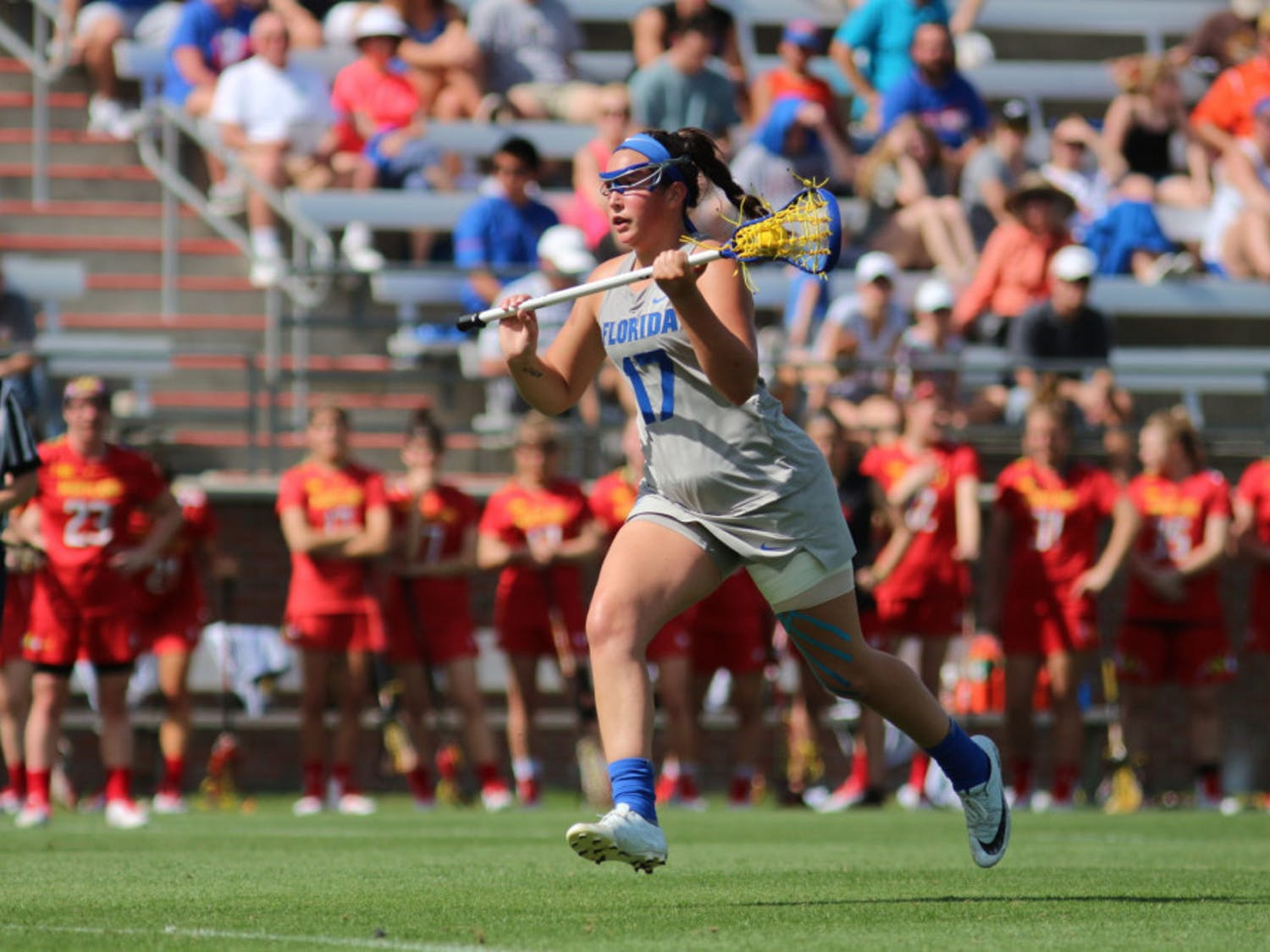 Sophomore midfielder Shannon Kavanagh scored four goals and was perfect from the free position against the No. 16 Greyhounds in Baltimore on Saturday.