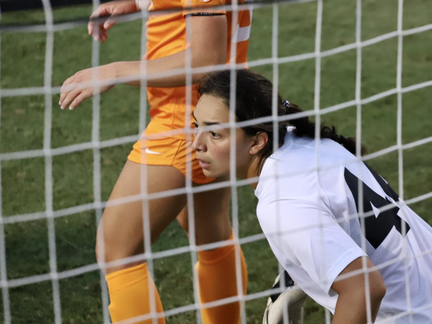 Gators goalkeeper Susi Espinoza guards the net from Tennessee defenders. Florida lost its fourth straight game this season on Friday night against the Volunteers.