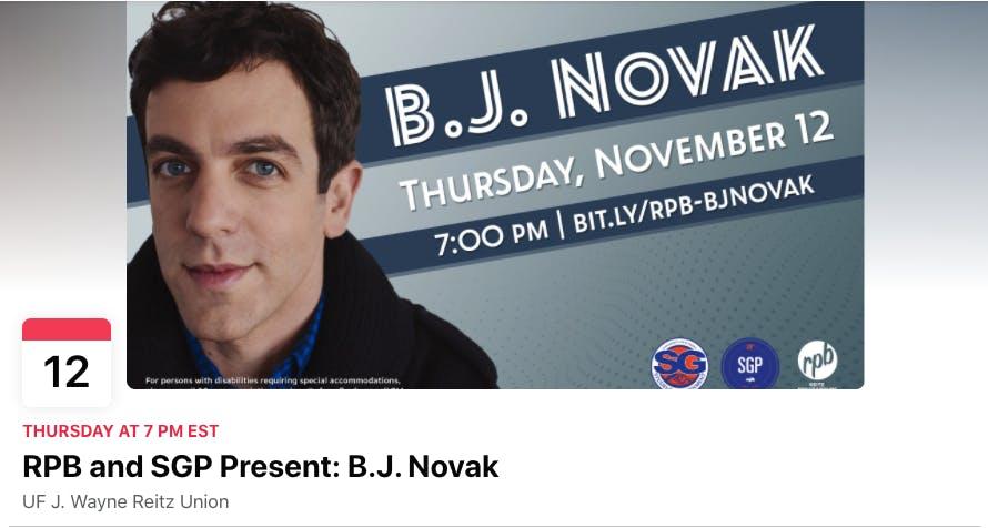 A screenshot of the B.J. Novak Facebook event page