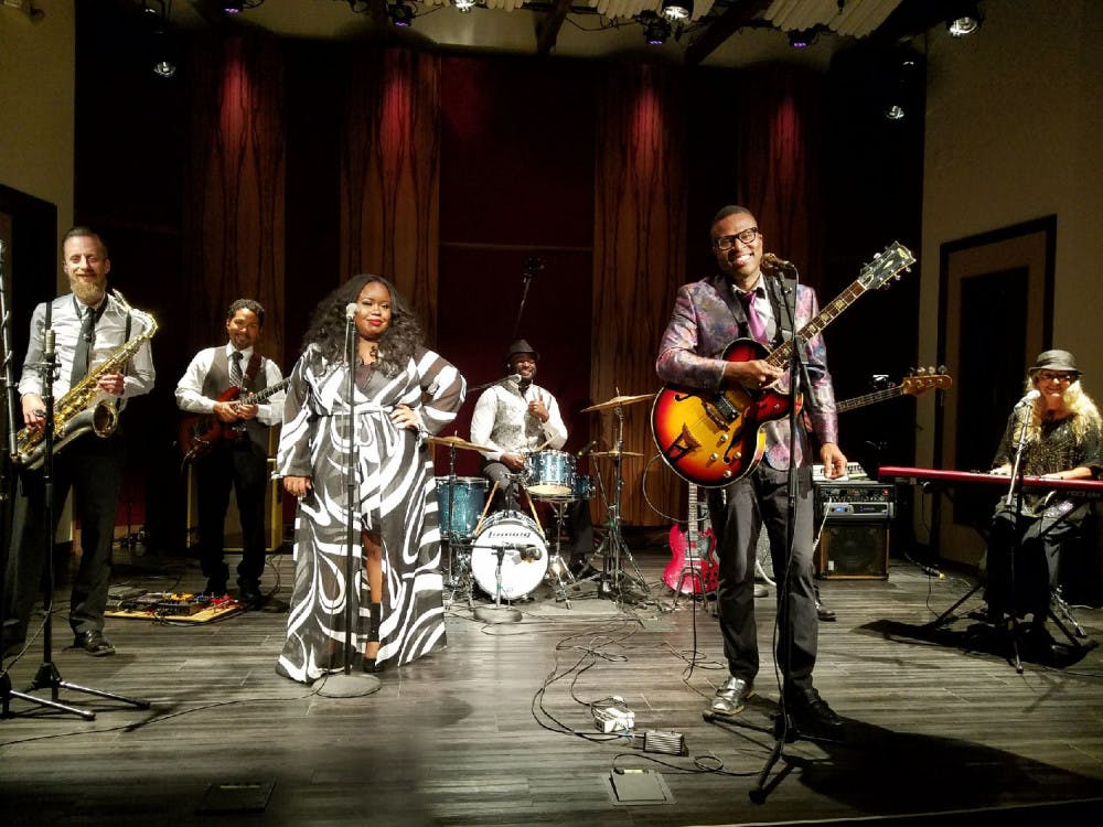 <p>Billy Buchanan, pictured here (foreground), will come together with his Rock 'n Soul Revue for Sunday's show.</p>