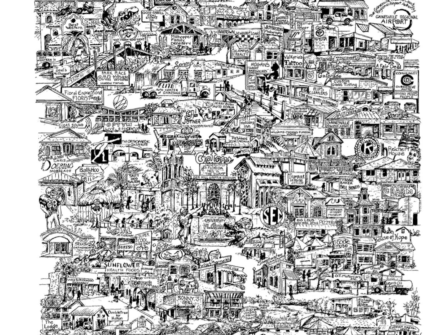 Local organizations paired with CityScapes Artwork to create a hand-drawn print that depicts well-known businesses, restaurants and landmarks in the area. The artwork will be sold to benefit nonprofit organizations in Gainesville.