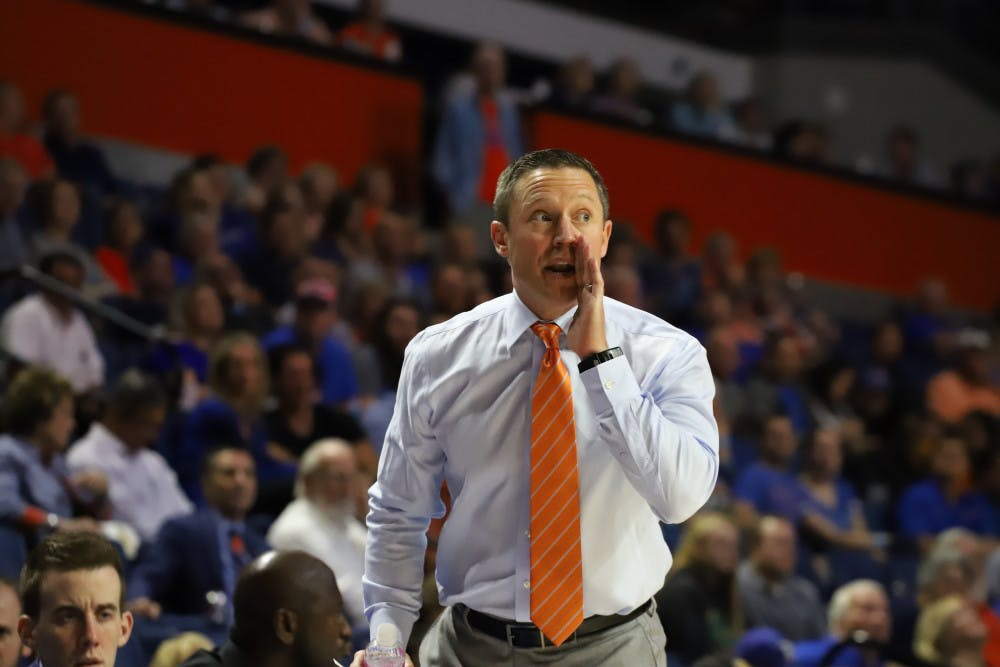 <p>Coach Mike White at Florida's game versus UNF last year. This season, the Gators will welcome Stetson to the O'Connell Center for their 63rd meeting on the court.</p>