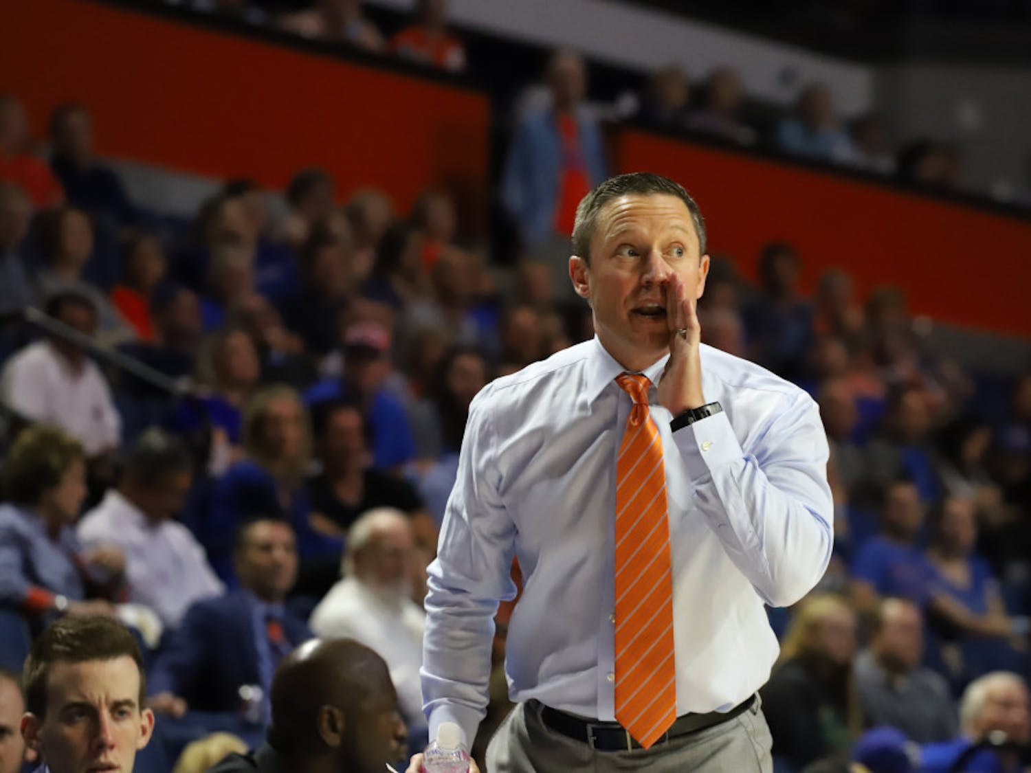 Coach Mike White at Florida's game versus UNF last year. This season, the Gators will welcome Stetson to the O'Connell Center for their 63rd meeting on the court.