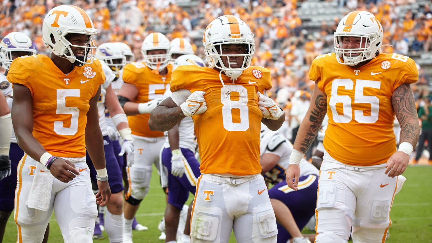 Tiyon Evans, #8, celebrates after the Vols score a field goal in the football game against Tennessee Tech, held in the Neyland Stadium on September 18th. Photo by Nathan Lick of The Daily Beacon