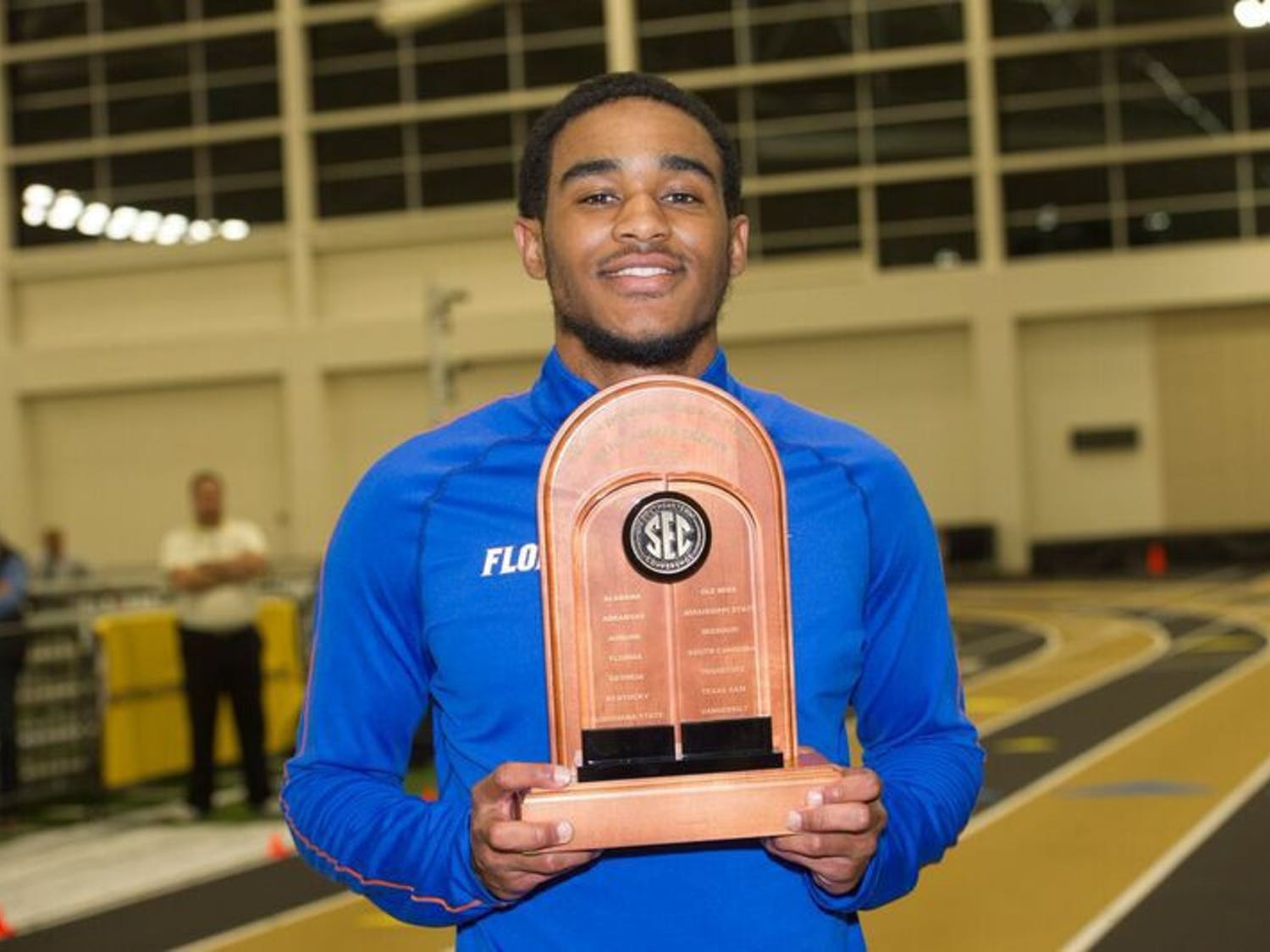 UF's KeAndre Bates poses with a trophy during the SEC Indoor Championships, which ran from Feb. 24-25, 2017, in Nashville, Tennessee. The juniorwon titles in the men's long jump and men's triple jump.