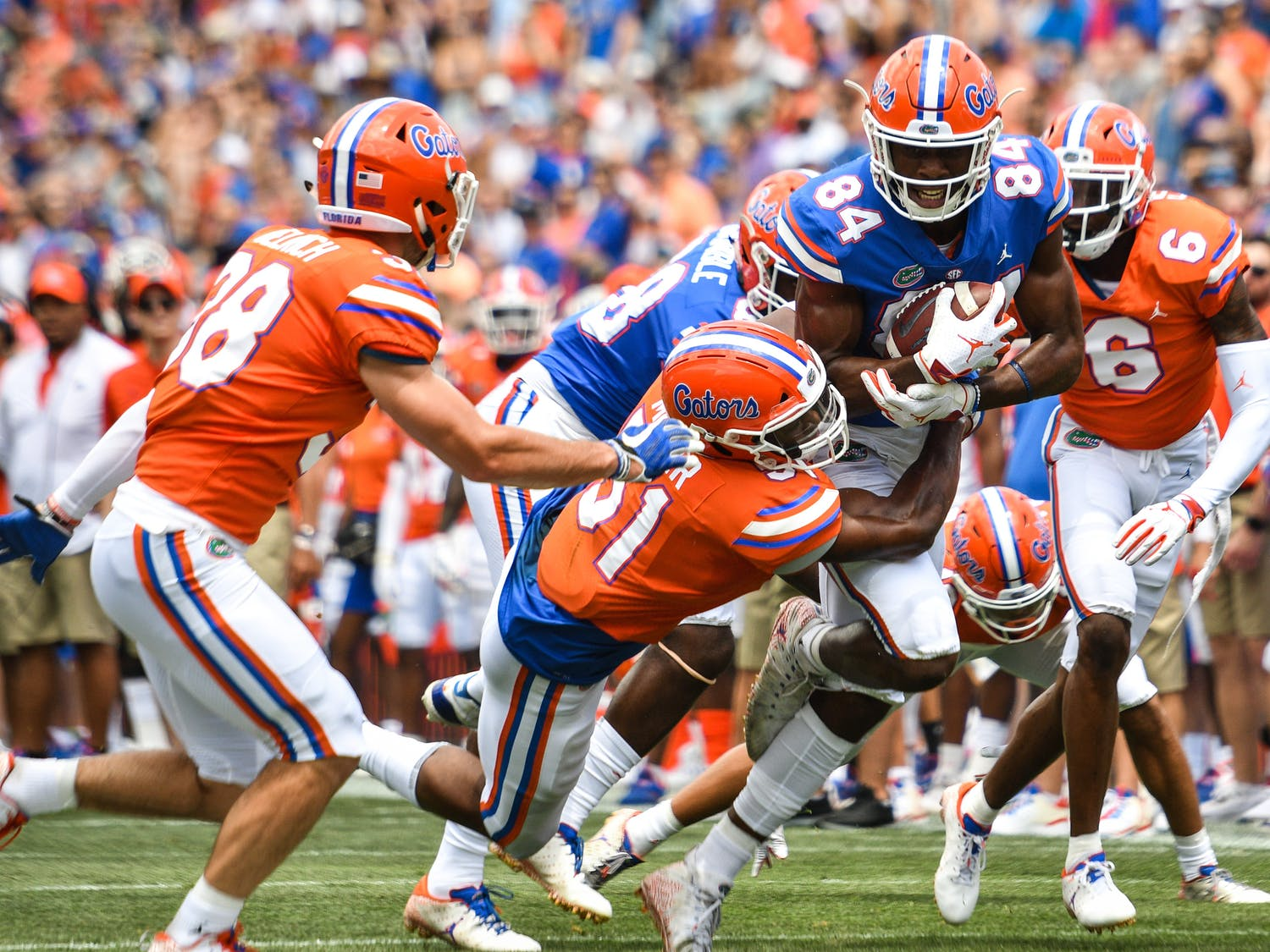 Tight end Kyle Pitts recorded four catches for 56 yards for the Blue team in UF's Orange and Blue game. Blue was defeated by Orange 60-35 in the highest-scoring spring game of all time.