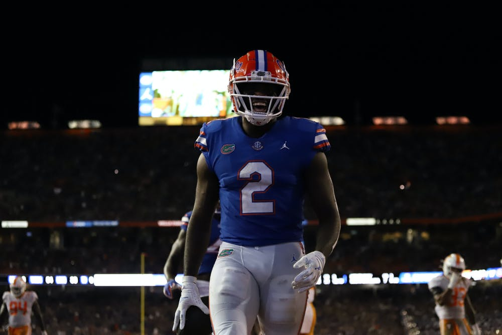 Florida tight end Kemore Gamble lets out a yell after scoring a touchdown on a trick play in the Gators' game against Tennessee on Sept. 25, 2021.