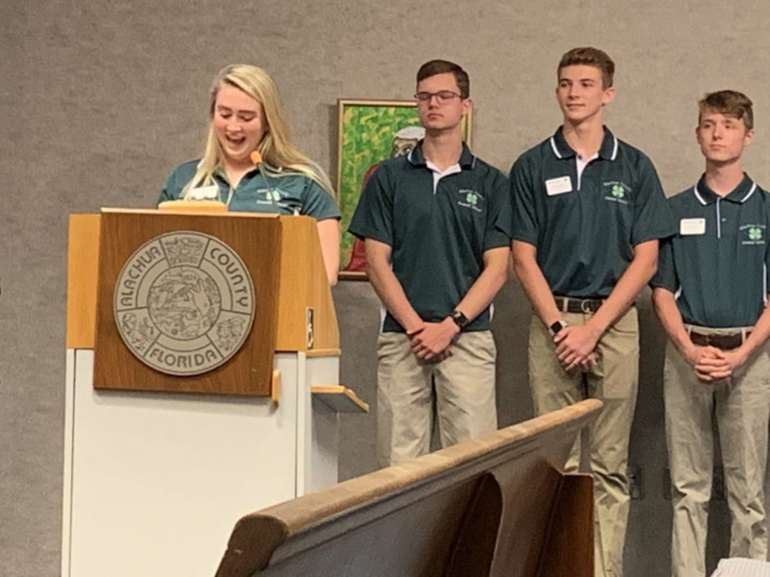 Alachua County 4-H President Madison Hurm, 17, speaks at Tuesday's County Commission meeting. The board proclaimed Oct. 6 through Oct. 12 as National 4-H Week in Alachua County.