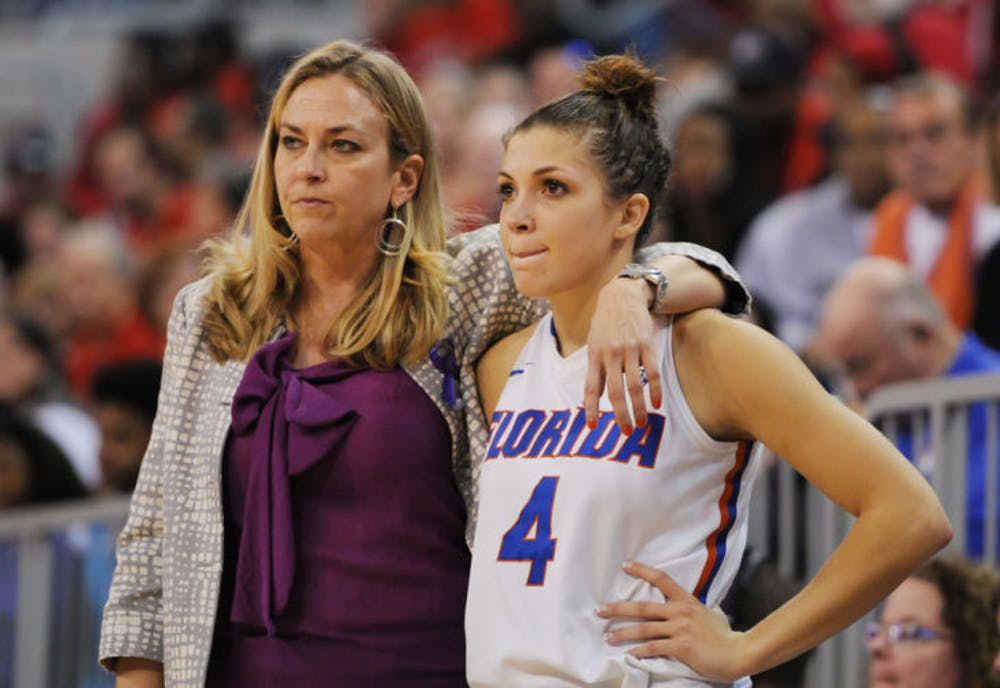<p>Coach Amanda Butler and guard Carlie Needles stand on the sideline during Florida's 68-62 loss to Georgia on Sunday in the O'Connell Center. Needles scored six points on two three-point shots in Florida's 89-69 loss to Tennessee on Thursday at Thompson-Boling Arena in Knoxville, Tenn.</p>