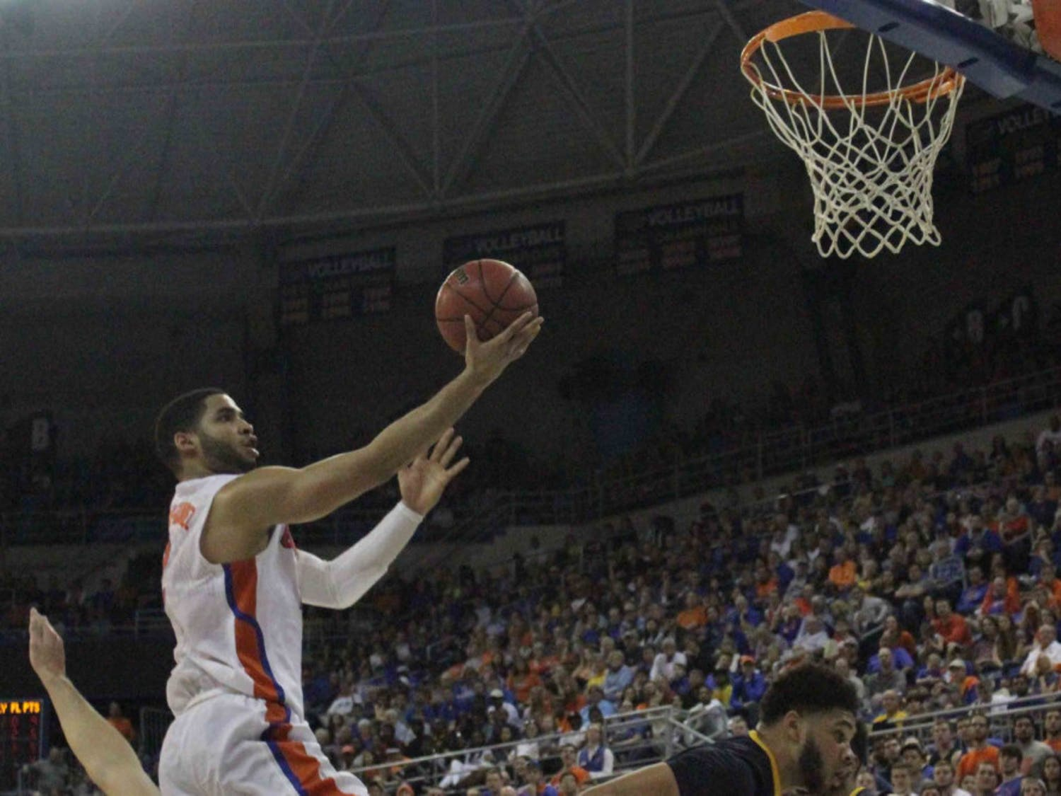 Brandone Francis-Ramirez goes for a layup during Florida's win over West Virginia on Jan. 30, 2016, in the O'Connell Center.