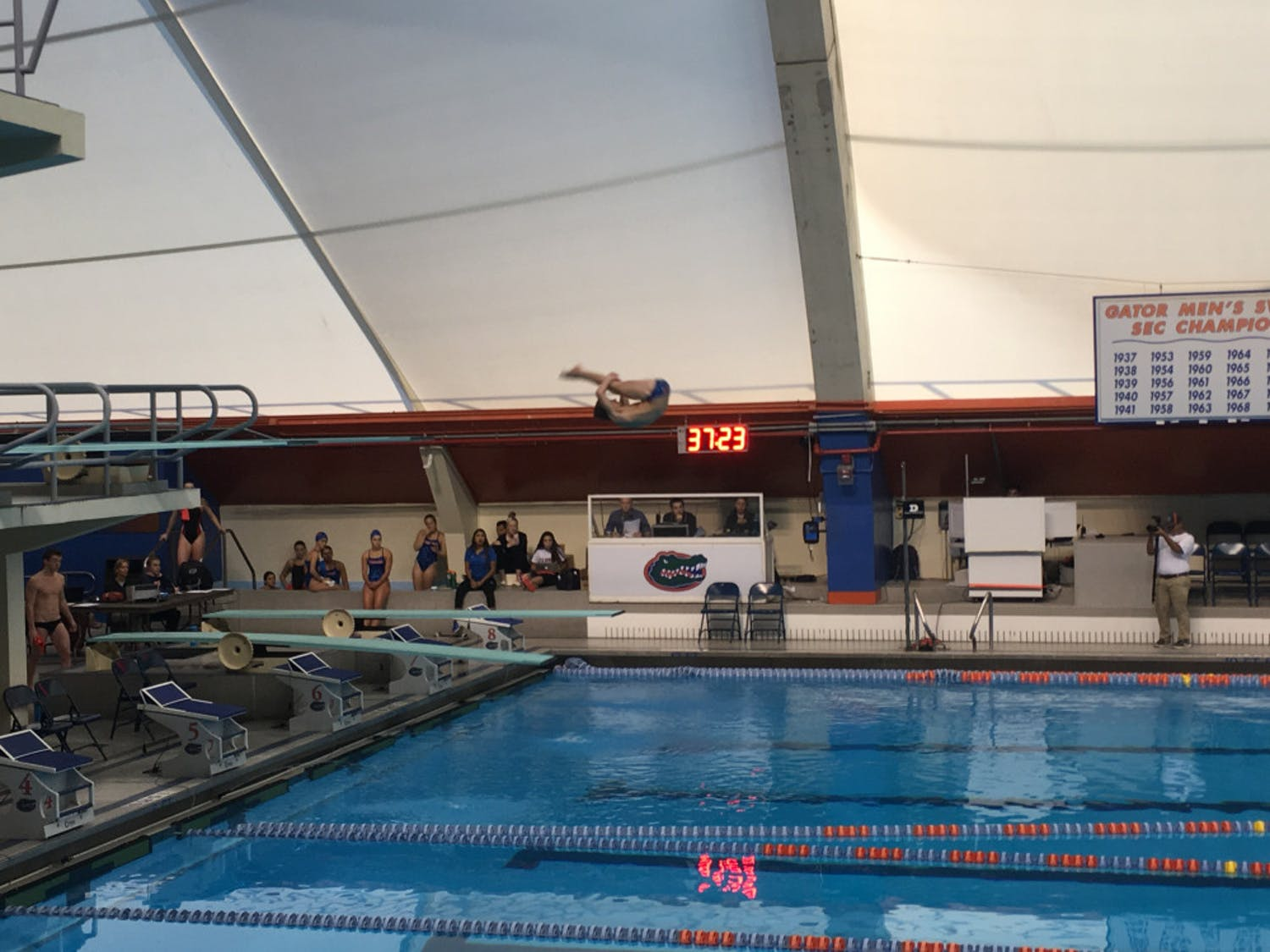 The Florida-Georgia swimming and diving meet started on Thursday with the diving event. The swimmers will compete today at 10 a.m.