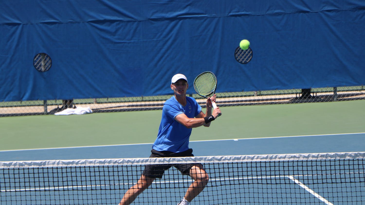 Florida's Sam Riffice prepares to return a ball against South Florida on May 9. Riffice defeated South Carolina's Daniel Rodrigues 3-6, 6-1, 6-4 to win the individual singles national championship Friday afternoon.