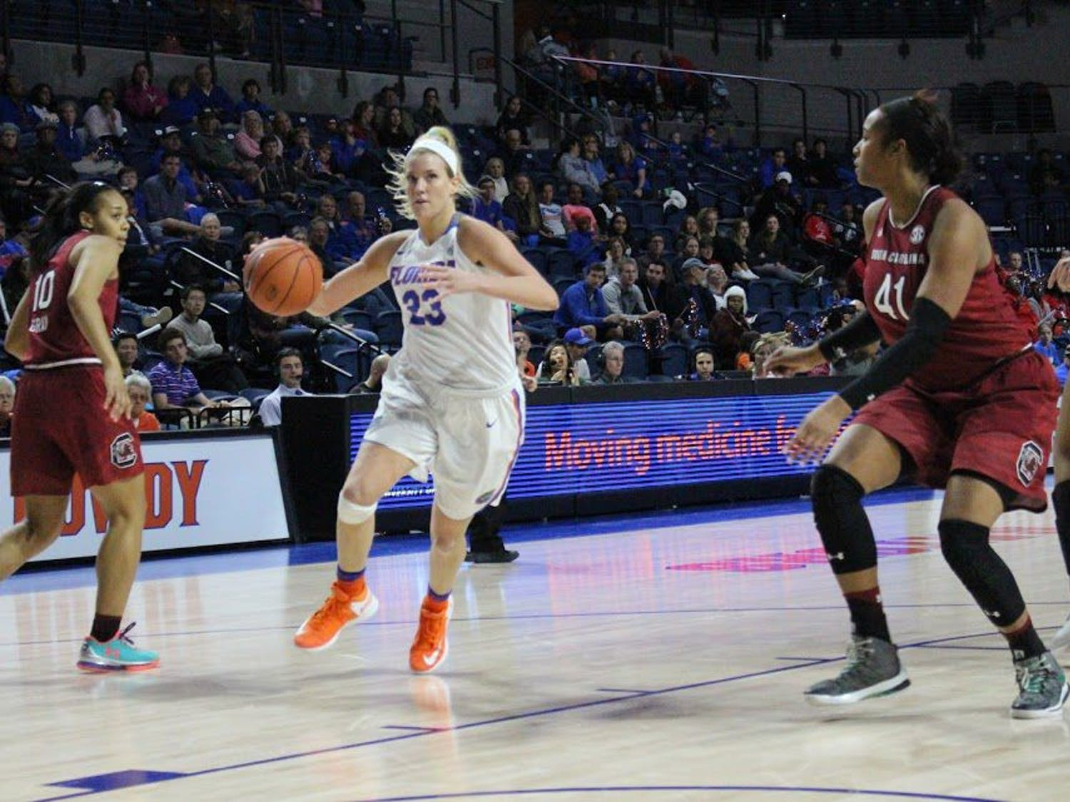 UF forward Brooke Copeland dribbles during Florida's 81-62 loss to South Carolina on Jan. 8, 2017, in the O'Connell Center.