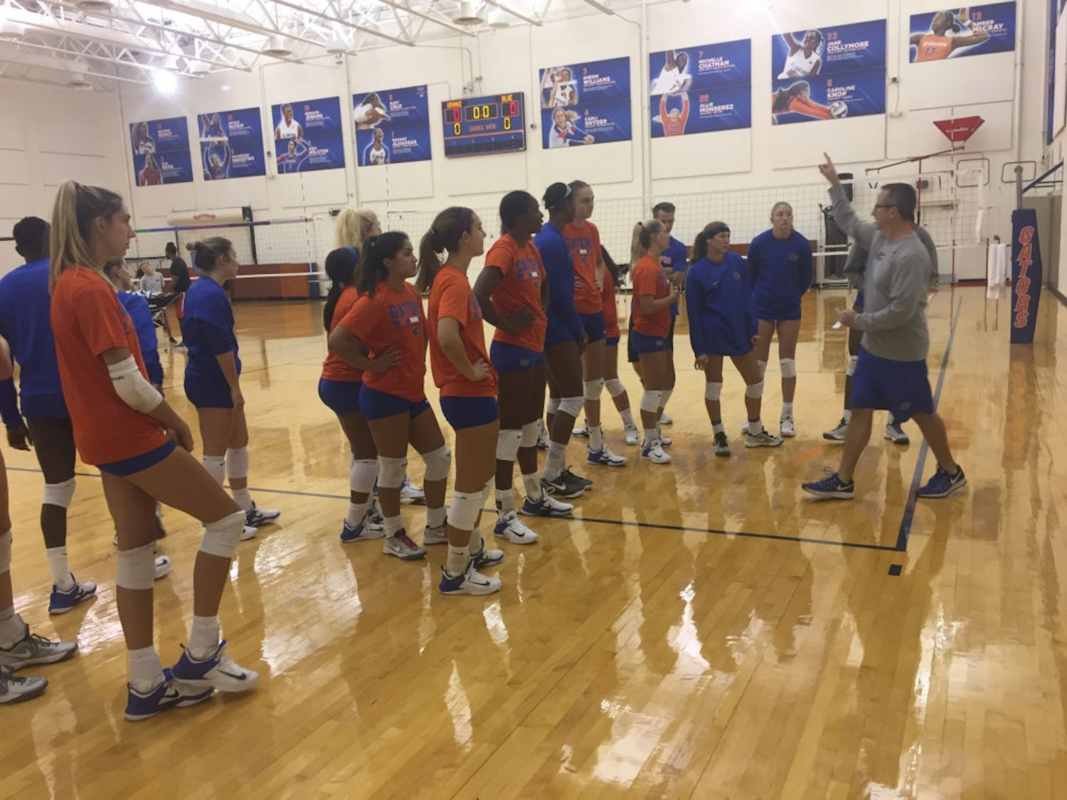 Florida's volleyball team holds an open practice after media day on Aug. 22.
