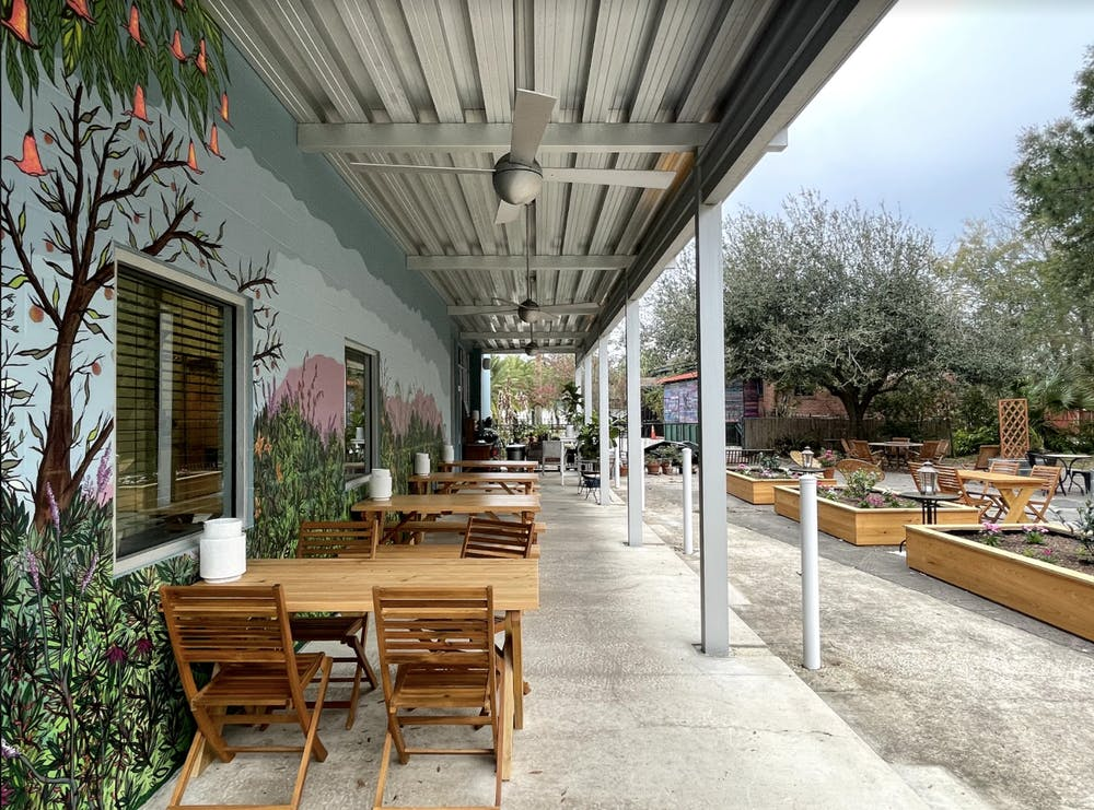 The new business opened Feb. 12 and features an outdoor wine garden.