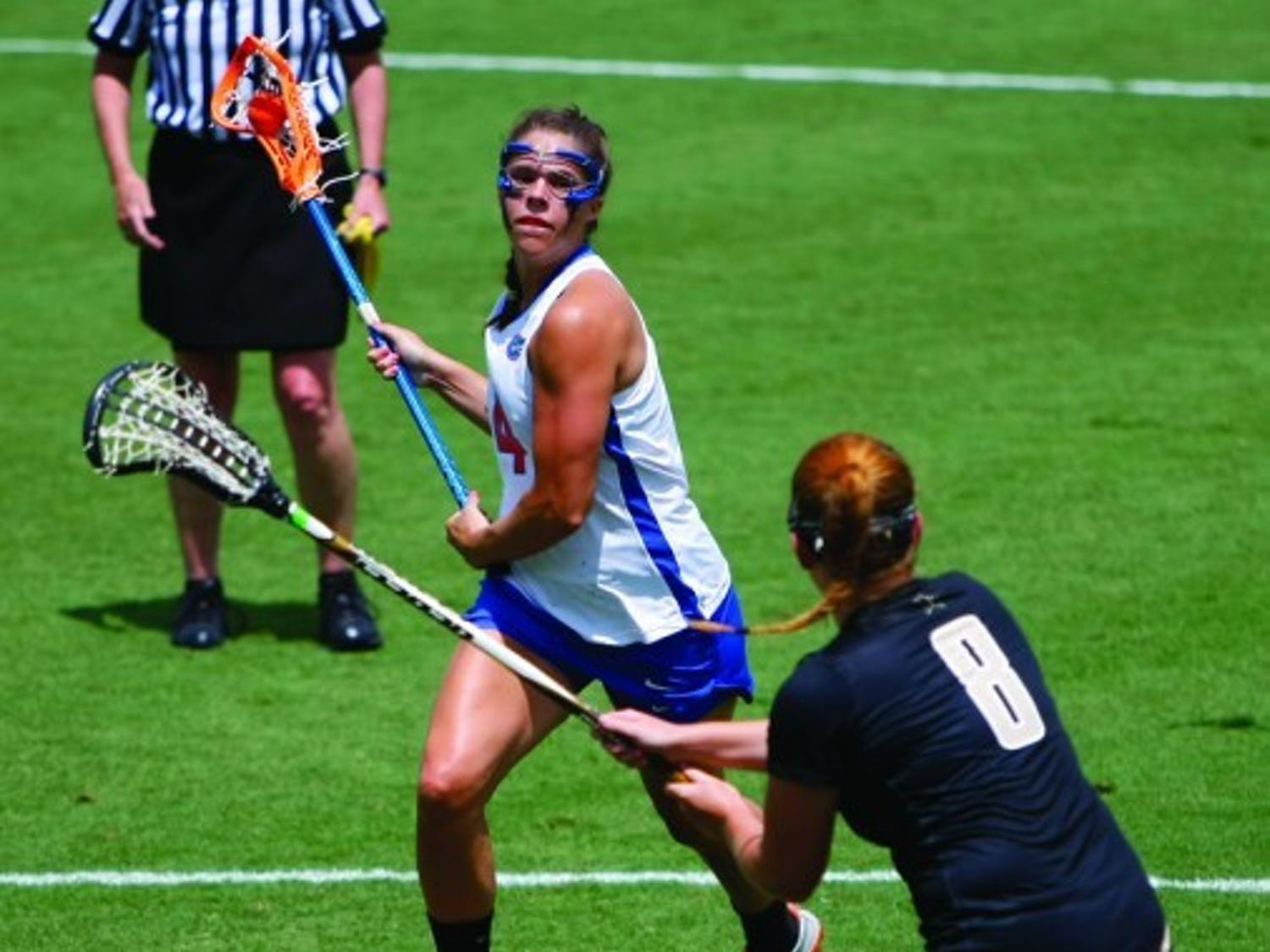 Florida attacker Kitty Cullen takes a shot against Vanderbilt on April 14. Cullen has scored nine goals since returning from a concussion.