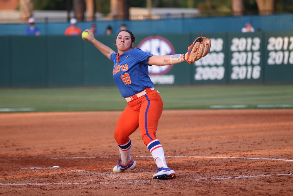 Natalie Lugo steps through and delivers a pitch against South Carolina on April 24th