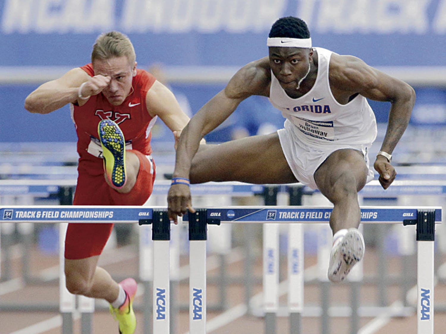 Junior Grant Holloway started the season with a national No. 2 long-jump ranking at 8.02 meters, a national first place 60 meter hurdle time of 7.49 seconds and a national fourth-place 200 meter dash ranking with a time of 20.69 seconds.