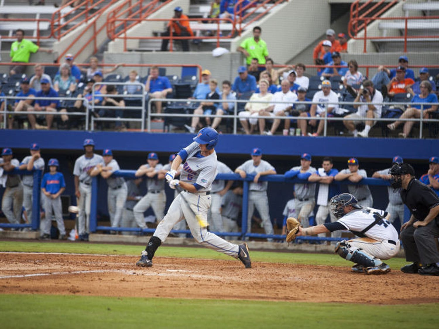 Zack Powers swings at a pitch during Florida's 5-2 loss to North Carolina on Saturday in McKethan Stadium.