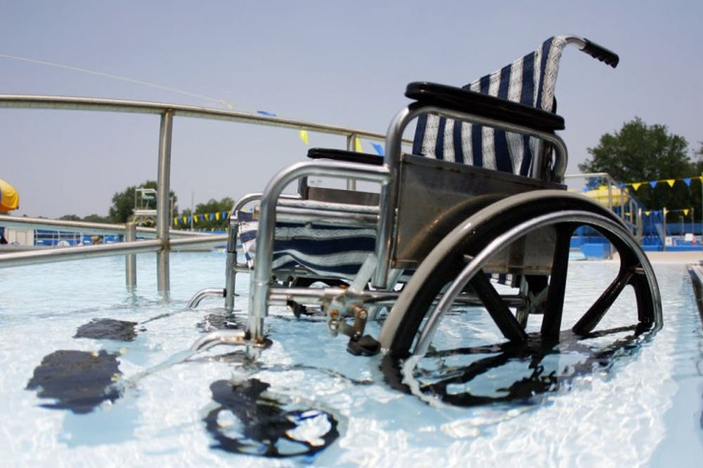 <p>The beach entry wheelchair ramp at Dwight H. Hunter Municipal Pool, also know as the Northeast Pool, is one of two soon-to-be required methods of entry for people with disabilities as part of the Americans with Disabilities Act.</p>