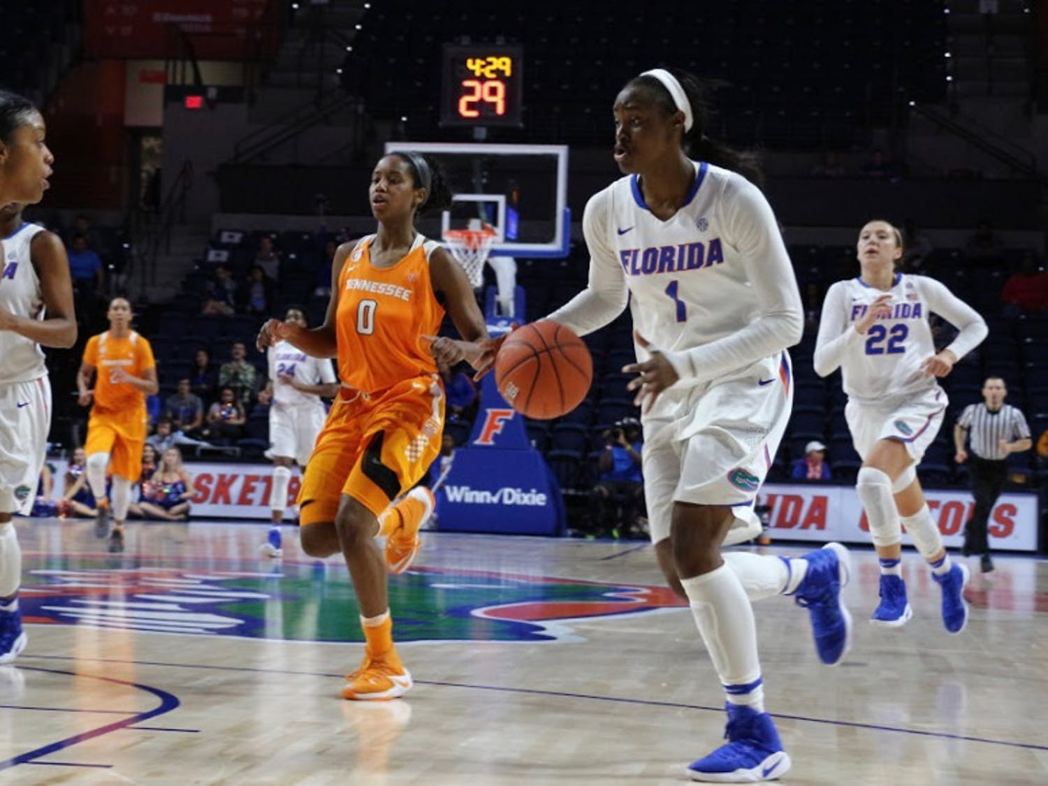 UF forward Ronni Williams dribbles the ball during Florida's 84-75 loss to Tennessee on Jan. 26, 2017, in the O'Connell Center.