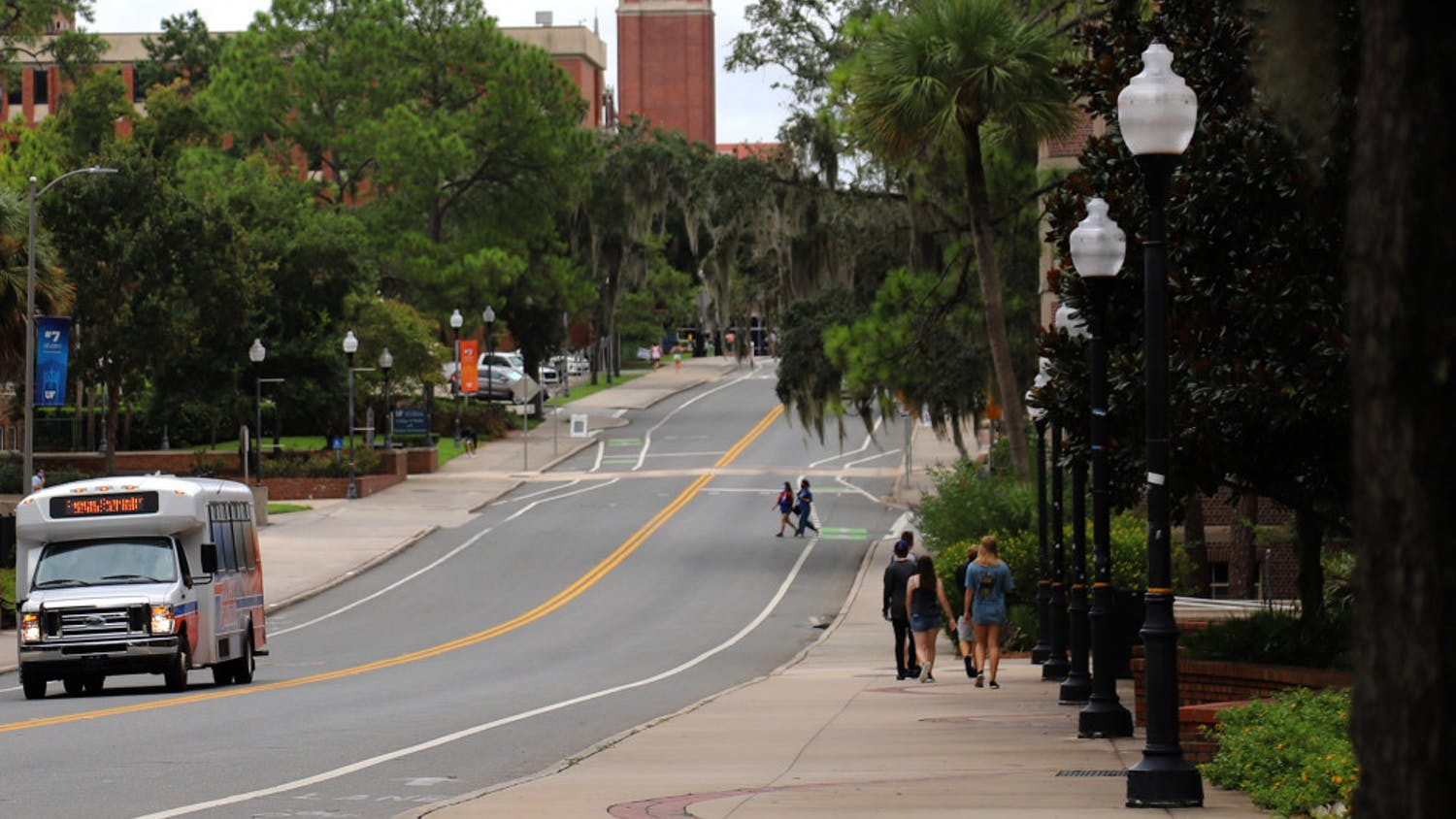 Few students are seen wandering around UF's campus on August 31, 2020, in Gainesville Fla., due to the social distancing guidelines and mask requirements set in place. However, the Campus Connector and RTS buses still operate with frequent trips across campus.