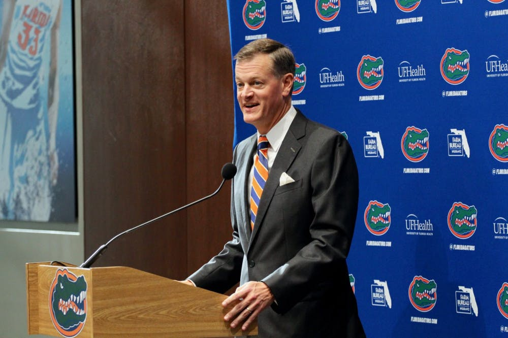 <p>UF AD Scott Stricklin announced the extensions of three Florida coaches Tuesday</p>