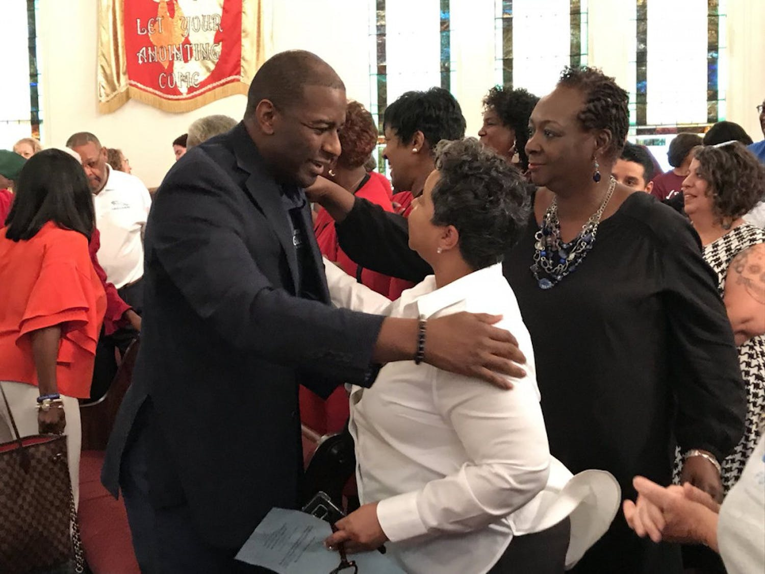 Andrew Gillum, a Florida governmental candidate, stopped in his hometown of Gainesville Monday at Mt. Pleasant United Methodist Church to meet and talk with supporters.