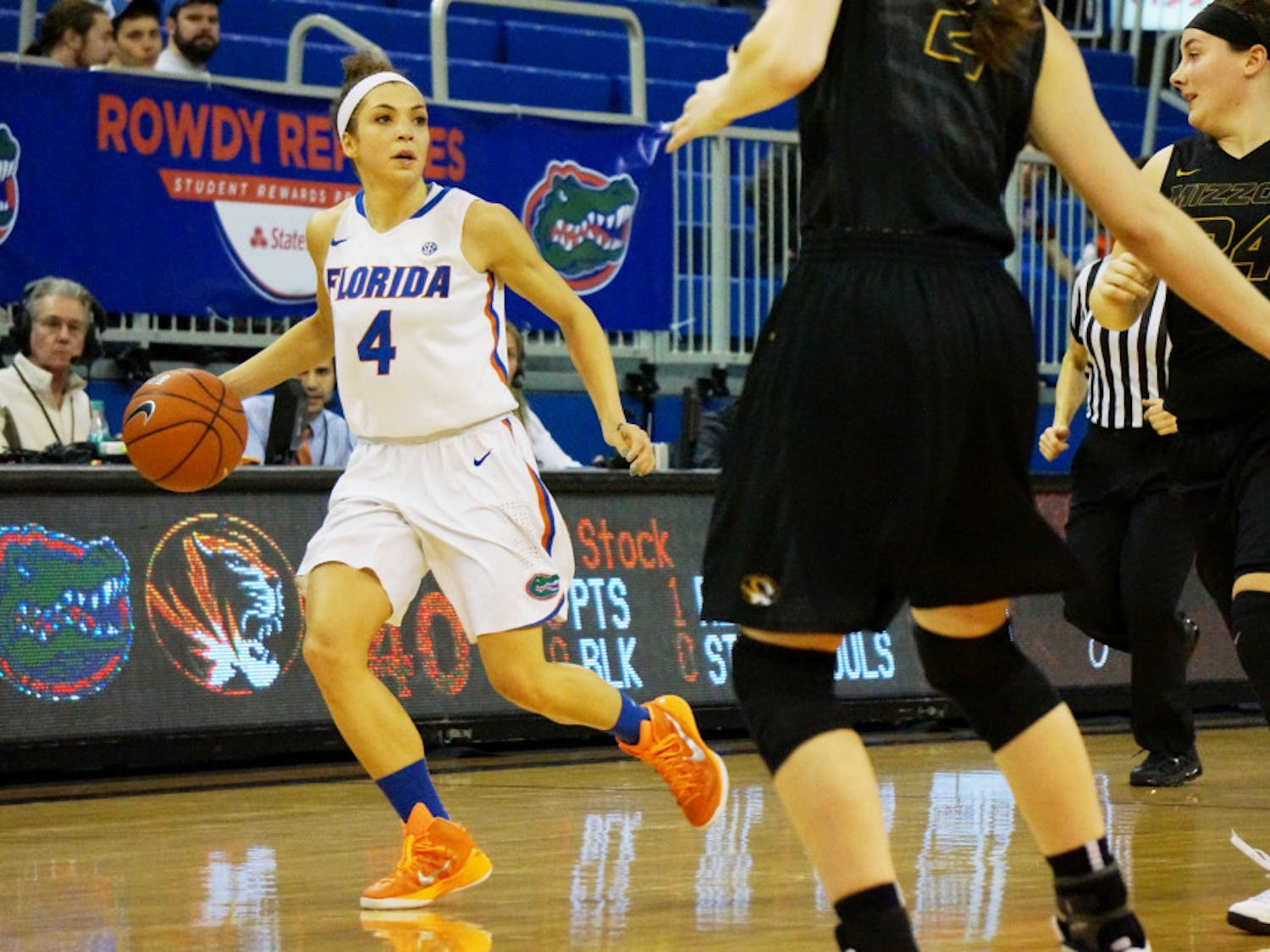 Carlie Needles dribbles the ball down the court during Florida's loss to Missouri on Thursday in the O'Connell Center.