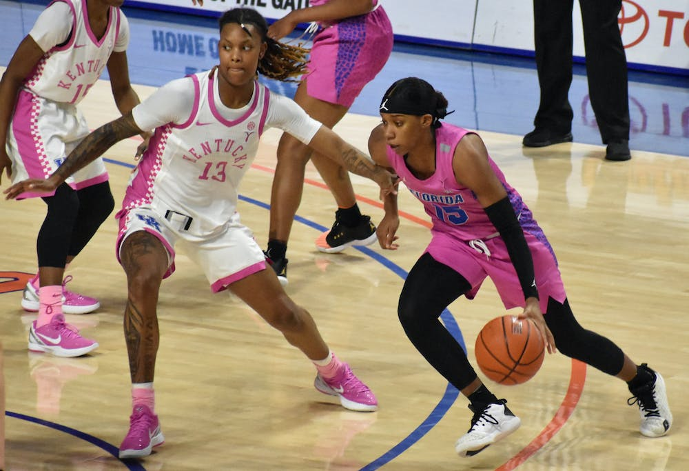 <p>Guards Nina Rickards and Danielle Rainey picked up the slack from Briggs' absence, hitting career highs with 19 and 20 points. Photo from Feb. 15 UF-Kentucky game.</p>